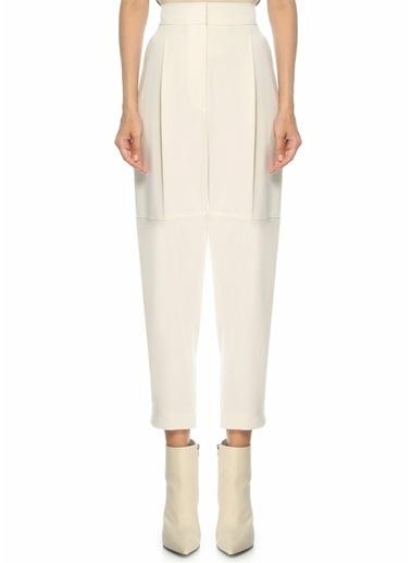Brunello Cucinelli Brunello Cucinelli  Yüksek Bel Pilili Yün Pantolon 101546855 Beyaz